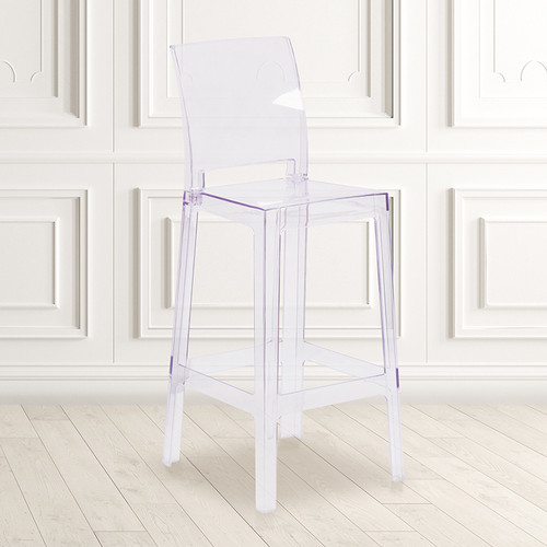 Ghost Barstool w/Square Back in Transparent Crystal