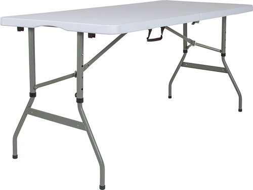 5-Foot Height Adjustable Bi-Fold Granite White Plastic Banquet & Event Folding Table w/Carrying Handle