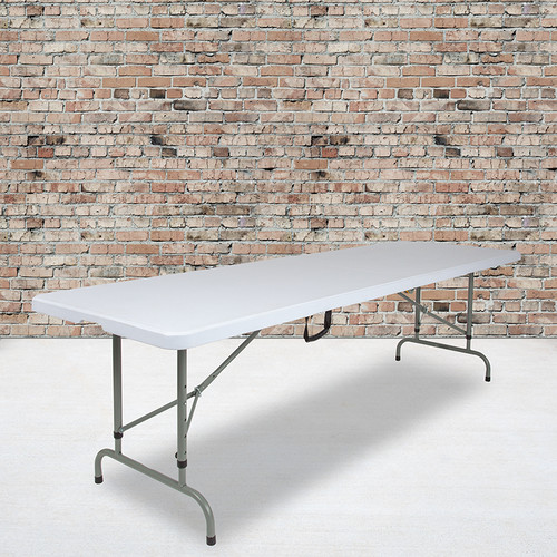 8-Foot Height Adjustable Bi-Fold Granite White Plastic Banquet & Event Folding Table w/Carrying Handle