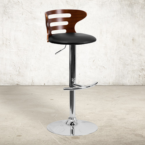Walnut Bentwood Adjustable Height Barstool w/Three Slot Cutout Back & Black Vinyl Seat