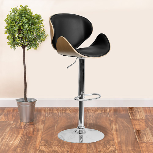 Beech Bentwood Adjustable Height Barstool w/Curved Back & Black Vinyl Seat