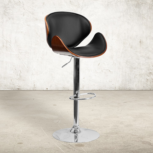 Walnut Bentwood Adjustable Height Barstool w/Curved Back & Black Vinyl Seat