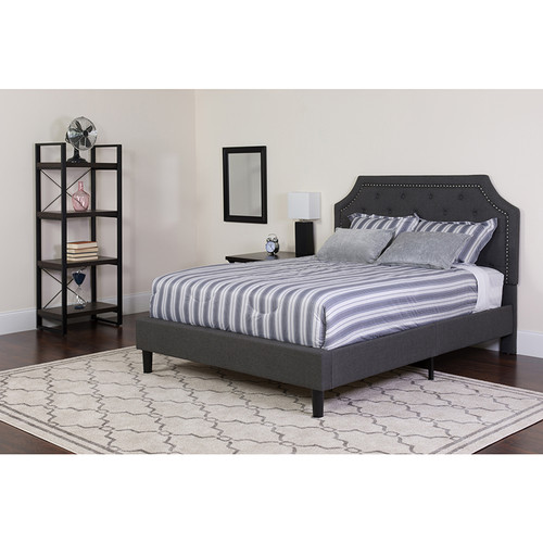 Brighton Queen Size Tufted Upholstered Platform Bed in Dark Gray Fabric w/Memory Foam Mattress