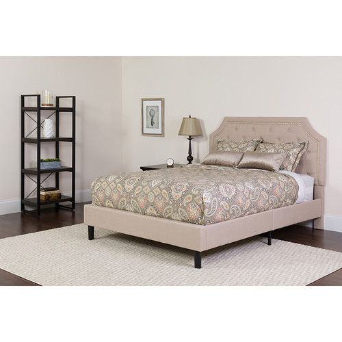Brighton Full Size Tufted Upholstered Platform Bed in Beige Fabric w/Memory Foam Mattress