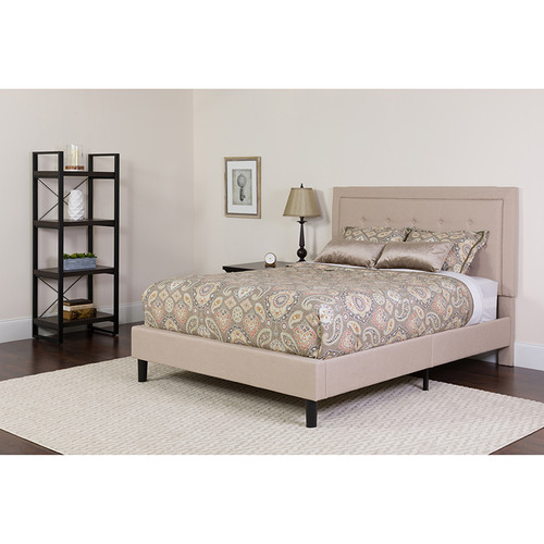 Roxbury Queen Size Tufted Upholstered Platform Bed in Beige Fabric w/Memory Foam Mattress