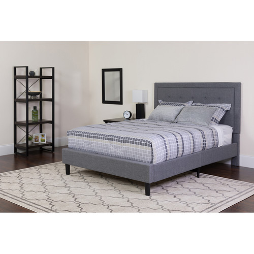 Roxbury Queen Size Tufted Upholstered Platform Bed in Light Gray Fabric w/Memory Foam Mattress