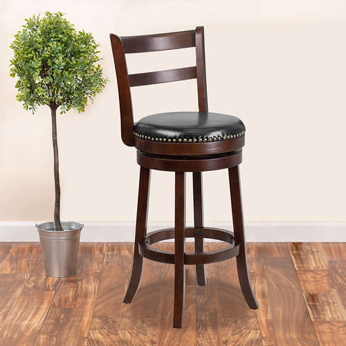 30'' High Cappuccino Wood Barstool w/Single Slat Ladder Back & Black LeatherSoft Swivel Seat