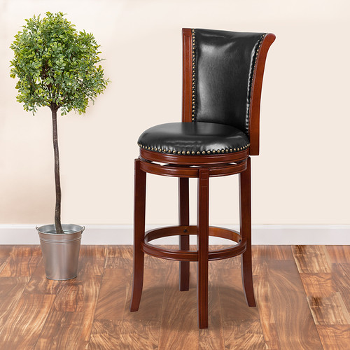 30'' High Dark Chestnut Wood Barstool w/Panel Back & Black LeatherSoft Swivel Seat