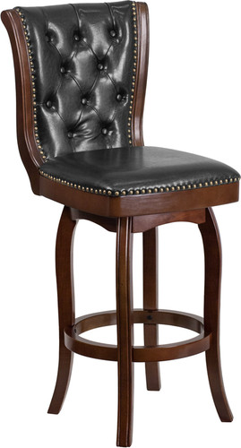 30'' High Cappuccino Wood Barstool w/Button Tufted Back & Black LeatherSoft Swivel Seat