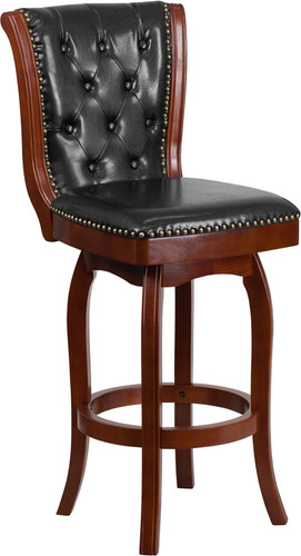 30'' High Cherry Wood Barstool w/Button Tufted Back & Black LeatherSoft Swivel Seat