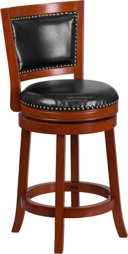 26'' High Light Cherry Wood Counter Height Stool w/Open Panel Back & Black LeatherSoft Swivel Seat