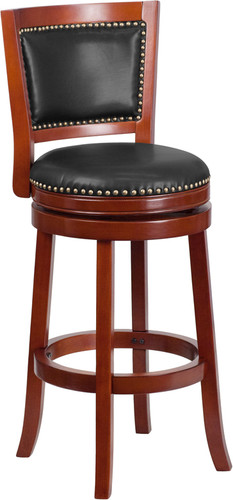 30'' High Dark Cherry Wood Barstool w/Open Panel Back & Walnut LeatherSoft Swivel Seat