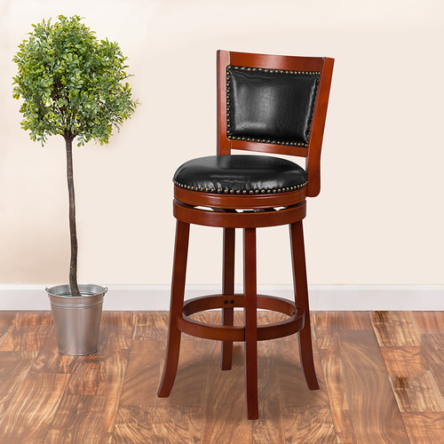 30'' High Light Cherry Wood Barstool w/Open Panel Back & Black LeatherSoft Swivel Seat