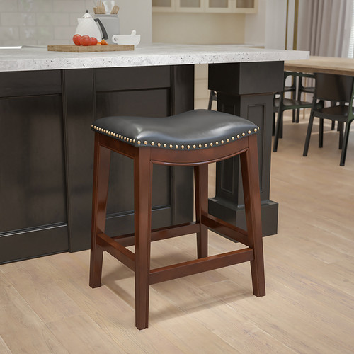 26'' High Backless Cappuccino Wood Counter Height Stool w/Black LeatherSoft Saddle Seat