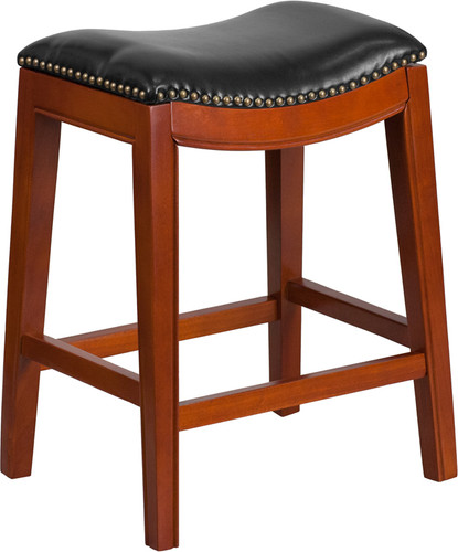 26'' High Backless Light Cherry Wood Counter Height Stool w/Black LeatherSoft Saddle Seat
