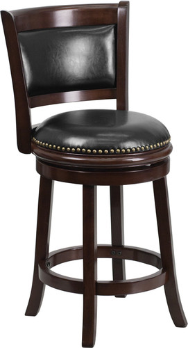 24'' High Cappuccino Wood Counter Height Stool w/Panel Back & Black LeatherSoft Swivel Seat