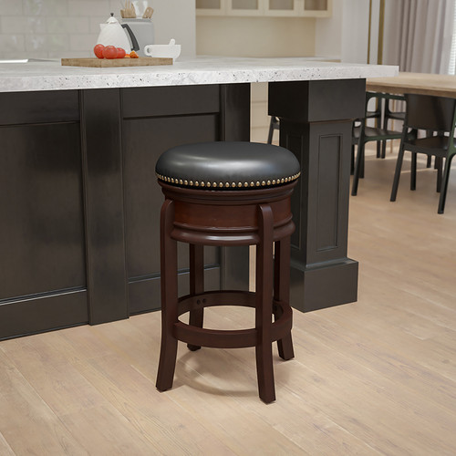 24'' High Backless Cappuccino Wood Counter Height Stool w/Carved Apron & Black LeatherSoft Swivel Seat