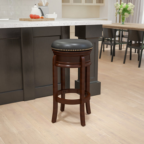 29'' High Backless Cappuccino Wood Barstool w/Carved Apron & Black LeatherSoft Swivel Seat