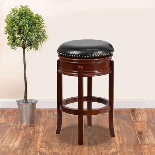29'' High Backless Light Cherry Wood Barstool w/Carved Apron & Black LeatherSoft Swivel Seat
