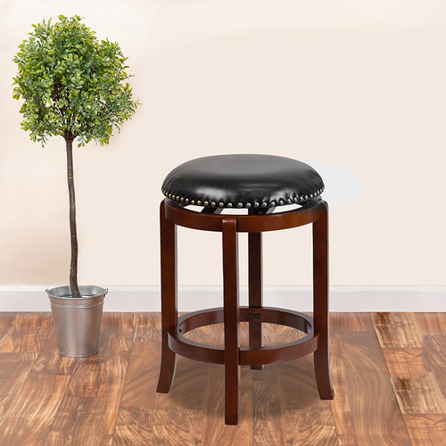 24'' High Backless Light Cherry Wood Counter Height Stool w/Black LeatherSoft Swivel Seat