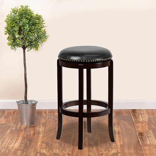 29'' High Backless Cappuccino Wood Barstool w/Black LeatherSoft Swivel Seat