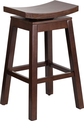 30'' High Saddle Seat Cappuccino Wood Barstool w/Auto Swivel Seat Return