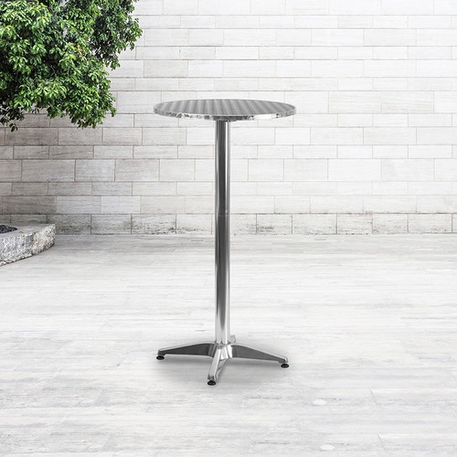 """23.25"""" Round Aluminum Indoor-Outdoor Bar Height Table w/Flip-Up Table"""