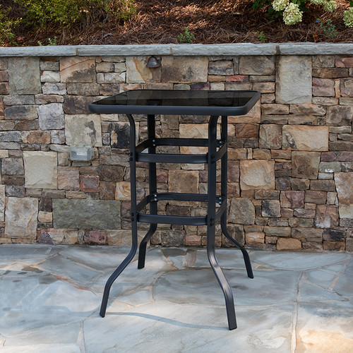 """27.5"""" Square Black Tempered Glass Bar Height Metal Patio Bar Table"""