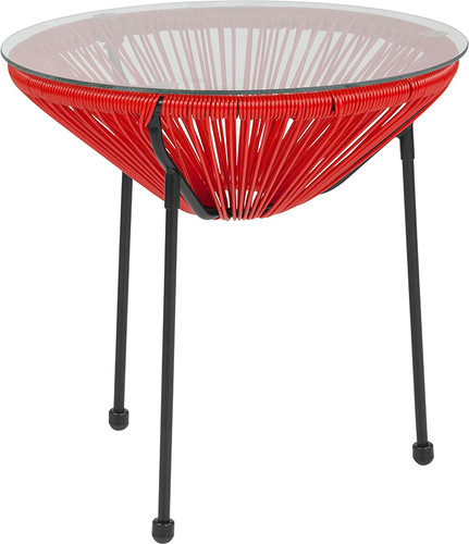 Valencia Oval Comfort Series Take Ten Red Rattan Table w/Glass Top