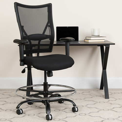 HERCULES Series Big & Tall 400 lb. Rated Black Mesh Ergonomic Drafting Chair w/Adjustable Arms