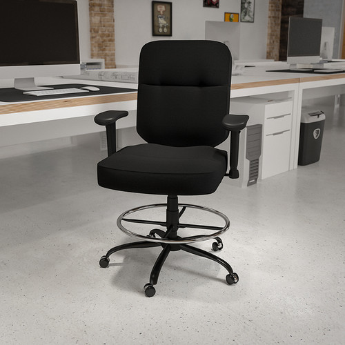 HERCULES Series Big & Tall 400 lb. Rated Black Fabric Rectangular Back Ergonomic Draft Chair w/Adjustable Arms