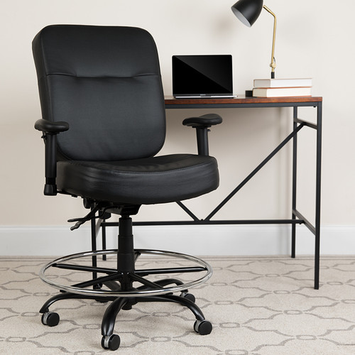 HERCULES Series Big & Tall 400 lb. Rated Black LeatherSoft Ergonomic Drafting Chair w/Adjustable Arms