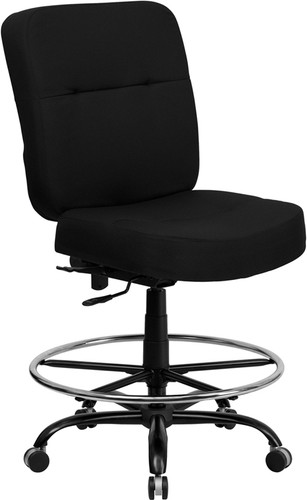 HERCULES Series Big & Tall 400 lb. Rated Black Fabric Ergonomic Drafting Chair w/Rectangular Back