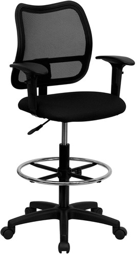 Mid-Back Black Mesh Drafting Chair w/Adjustable Arms