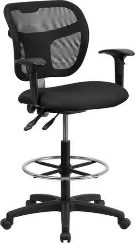 Mid-Back Black Mesh Drafting Chair w/Back Height Adjustment & Adjustable Arms