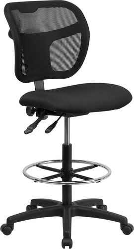 Mid-Back Black Mesh Drafting Chair w/Back Height Adjustment