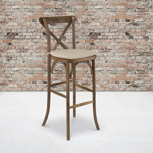 HERCULES Series Dark Antique Wood Cross Back Barstool w/Cushion