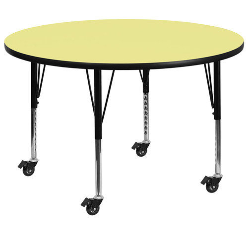 Mobile 60'' Round Yellow Thermal Laminate Activity Table - Height Adjustable Short Legs