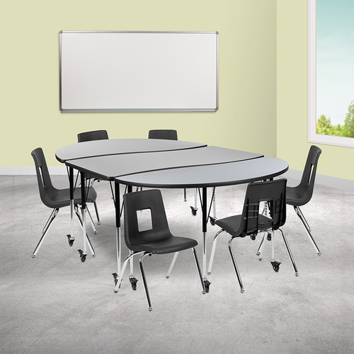 """Mobile 86"""" Oval Wave Collaborative Laminate Activity Table Set w/16"""" Student Stack Chairs, Grey/Black"""