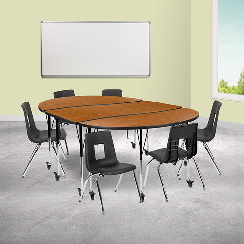 """Mobile 86"""" Oval Wave Collaborative Laminate Activity Table Set w/16"""" Student Stack Chairs, Oak/Black"""
