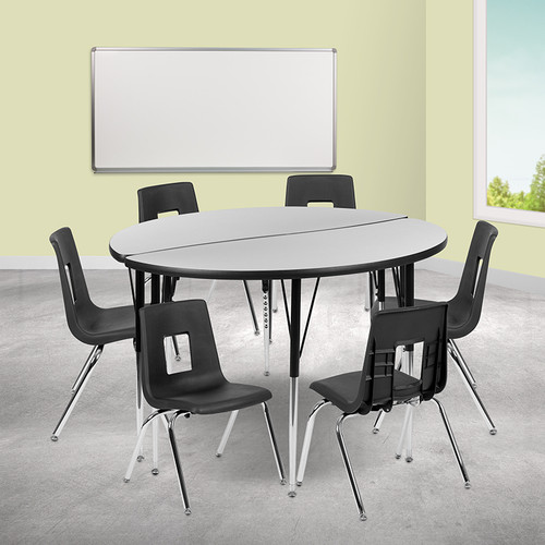 """47.5"""" Circle Wave Collaborative Laminate Activity Table Set w/16"""" Student Stack Chairs, Grey/Black"""