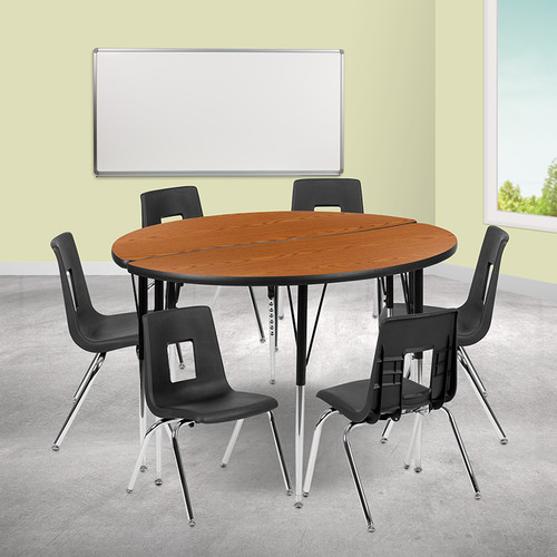 """47.5"""" Circle Wave Collaborative Laminate Activity Table Set w/16"""" Student Stack Chairs, Oak/Black"""
