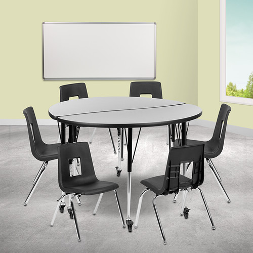 """Mobile 47.5"""" Circle Wave Collaborative Laminate Activity Table Set w/16"""" Student Stack Chairs, Grey/Black"""