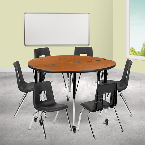 """Mobile 47.5"""" Circle Wave Collaborative Laminate Activity Table Set w/16"""" Student Stack Chairs, Oak/Black"""