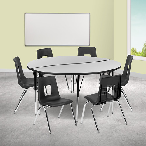 """60"""" Circle Wave Collaborative Laminate Activity Table Set w/16"""" Student Stack Chairs, Grey/Black"""