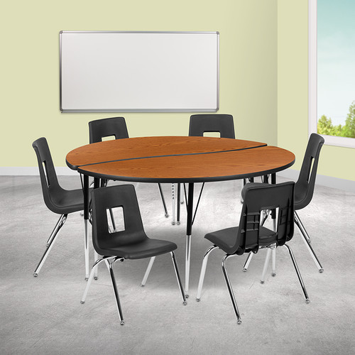 """60"""" Circle Wave Collaborative Laminate Activity Table Set w/16"""" Student Stack Chairs, Oak/Black"""