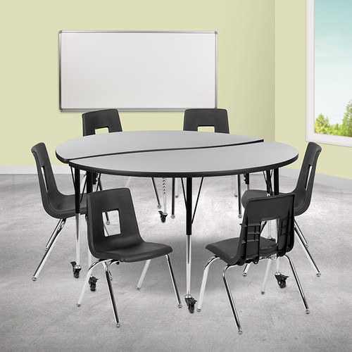 """Mobile 60"""" Circle Wave Collaborative Laminate Activity Table Set w/16"""" Student Stack Chairs, Grey/Black"""