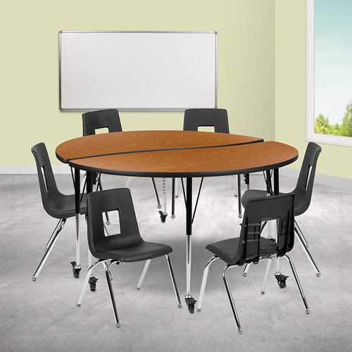 """Mobile 60"""" Circle Wave Collaborative Laminate Activity Table Set w/16"""" Student Stack Chairs, Oak/Black"""