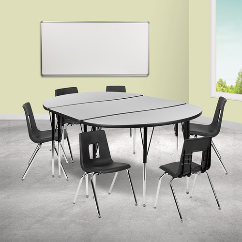 """76"""" Oval Wave Collaborative Laminate Activity Table Set w/18"""" Student Stack Chairs, Grey/Black"""