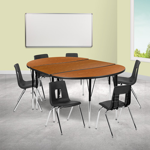"""76"""" Oval Wave Collaborative Laminate Activity Table Set w/18"""" Student Stack Chairs, Oak/Black"""